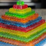 pyarmid made of stackable gummy LEGO JELLO candy