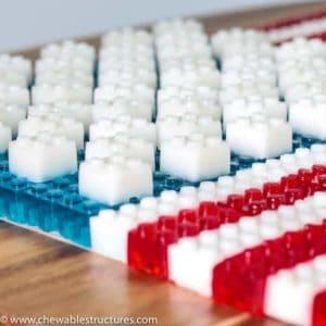 Edible american flag made of stackable LEGO JELLO.