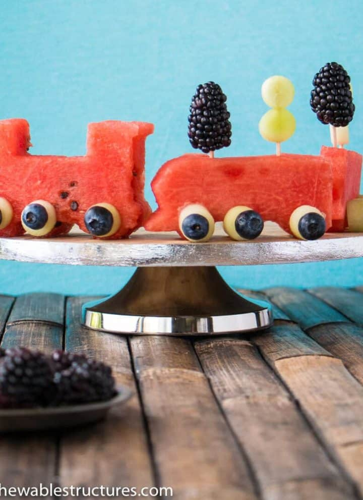 watermelon and fruit shaped like a train.