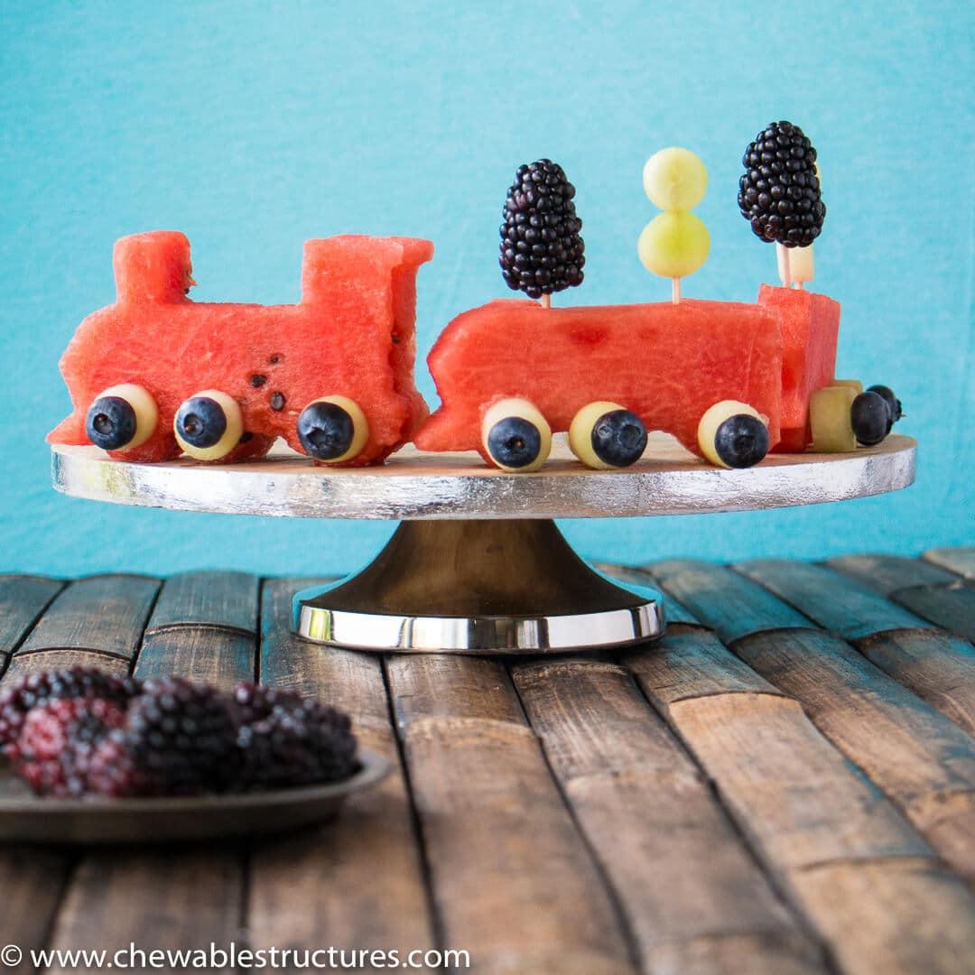 watermelon and fruit shaped like a train.