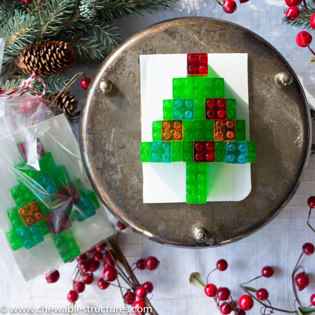 this christmas tree made of stackable gummy lego candy might be one of the best food