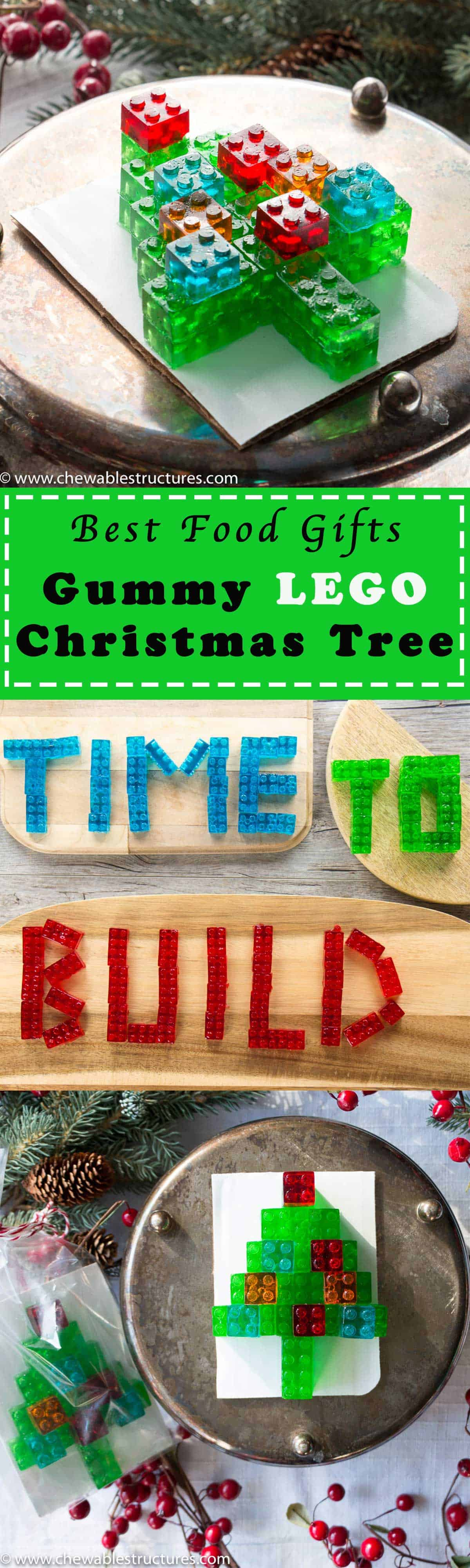 This gummy LEGO candy Christmas tree is one of the best food gifts, ever. Watch my video to see how to make gummy candy.