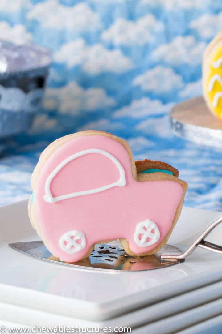 Baby Shower Cookies Edible 3 D Baby Carriage Chewable Structures