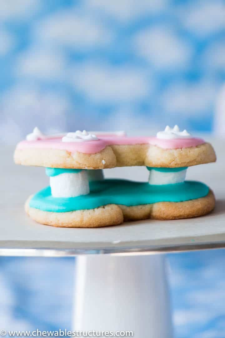 marshmallows inbetween two sugar cookies covered in icing