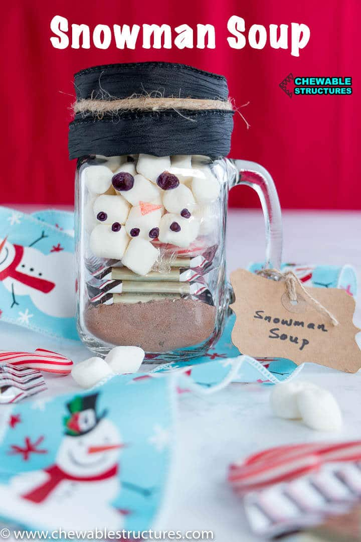 mason jar filled with snowman soup ingredients