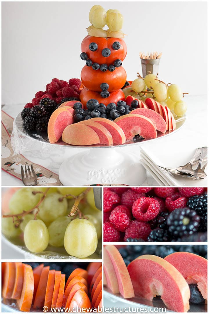collage of a snowman-shaped fruit tray. Below are: green grapes, persimmon, apples, berries