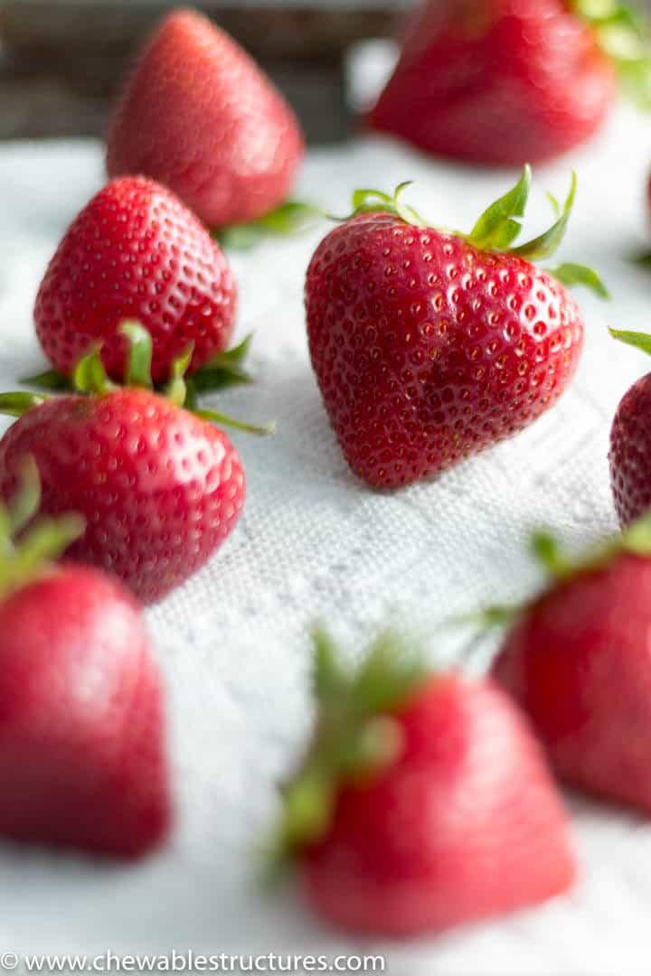 fresh strawberries drying on paper towel